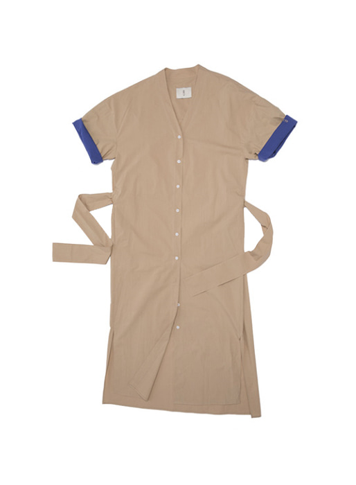 [이연희 착용][균일가 세일]OSLO Short sleeve shirts dress(Brown & Royal blue)