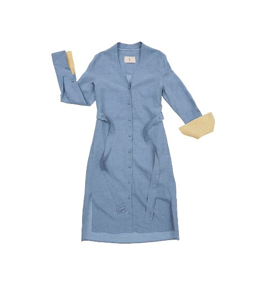 [앤유]OSLO oversized V neck dress (Corn flower blue&Butter)