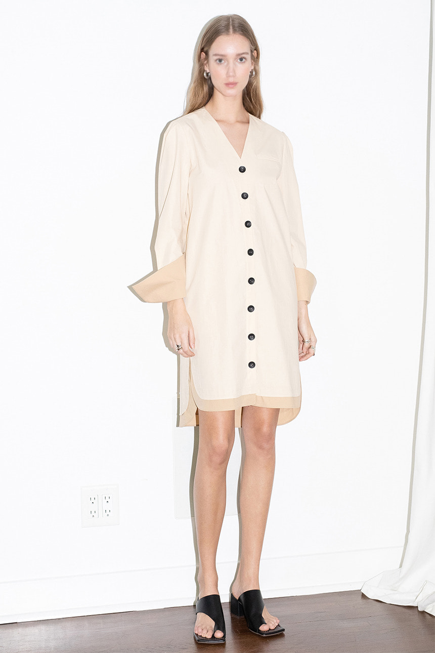 [앤유]ECHO PARK v neck button down shirt dress (Light beige & Beige)