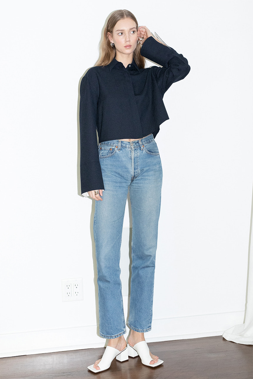 [앤유]PALM SPRINGS oversized long sleeve cropped shirt (Navy)