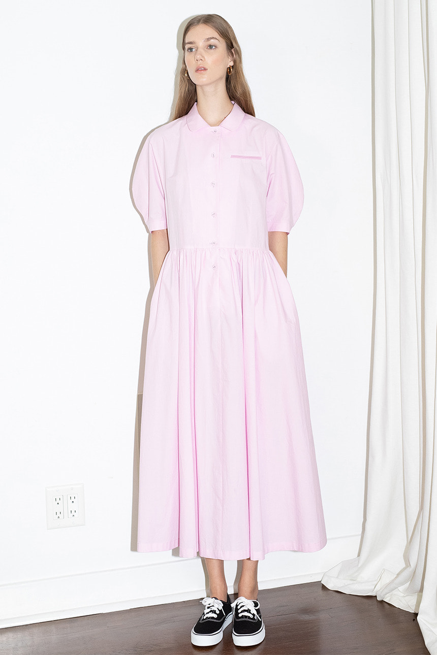 [앤유][문정원 착용]MELROSE round collar over sized shirt dress (Candy pink)