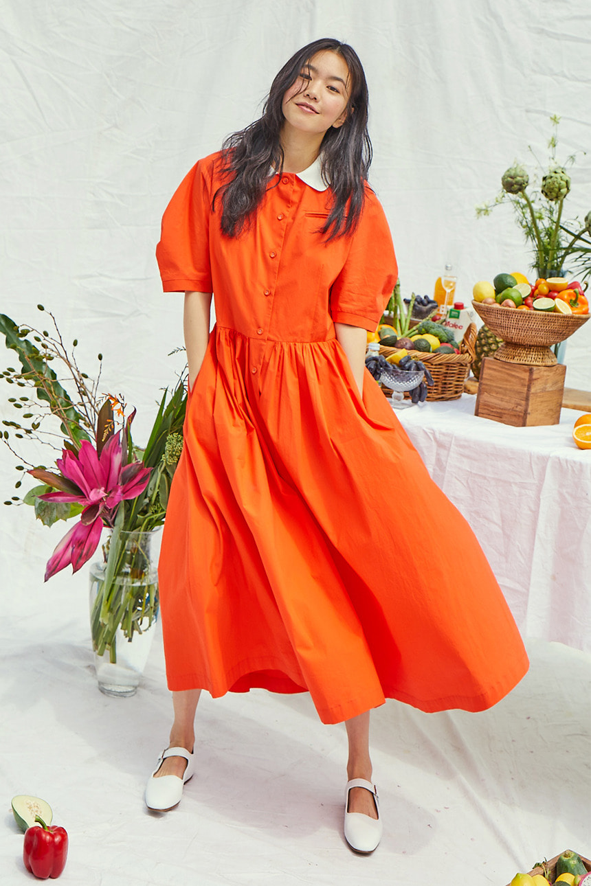 [앤유x이설][이현이착용]MELROSE round collar oversized shirt dress (Tomato red)