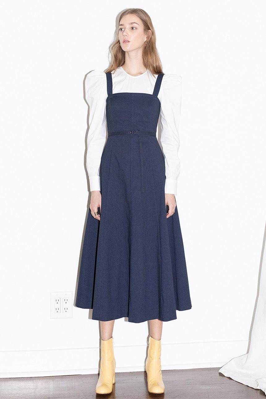 [앤유x이설][윤승아착용]MALIBU detachable strap tube top dress (Navy)