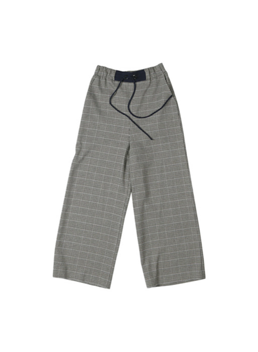 OXFORD wide string pants (Navy glen check)