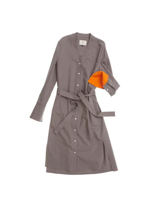 OSLO long sleeve shirt dress (Gray & Orange)