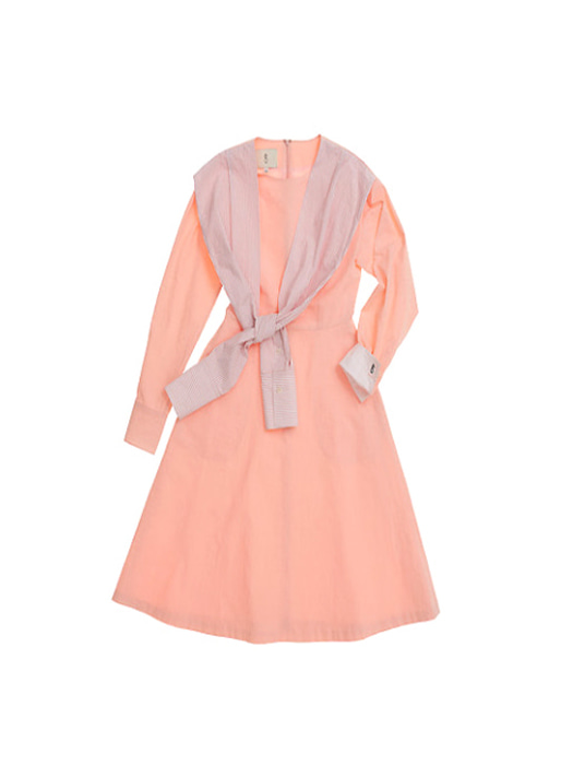 LOS ANGELES round neck shirt dress (Peach pink)