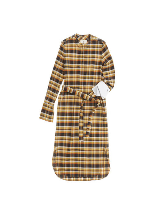 SHANGHAI long sleeve shirt dress (Yellow tartan check)