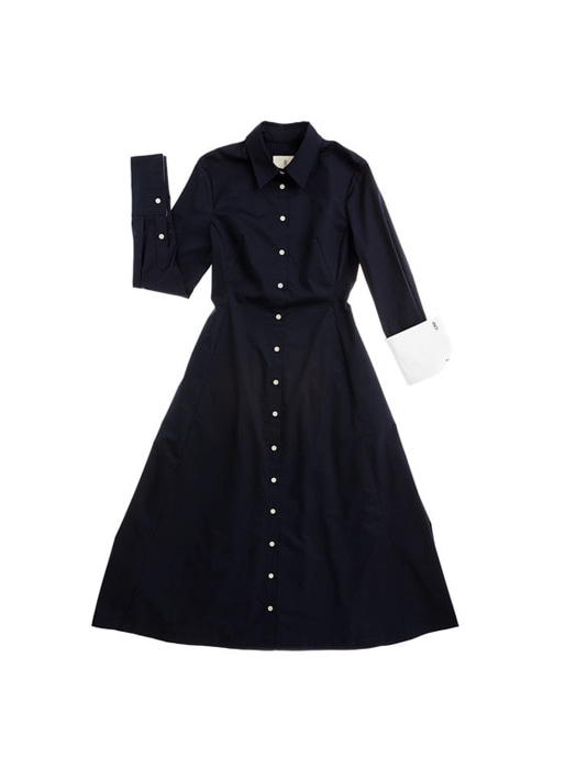 FIRENZE long sleeve shirt dress (Navy & White)