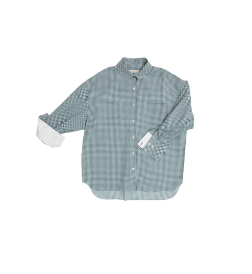 [AND YOU] VENICE oversized blouse (Deep green gingham check & White)