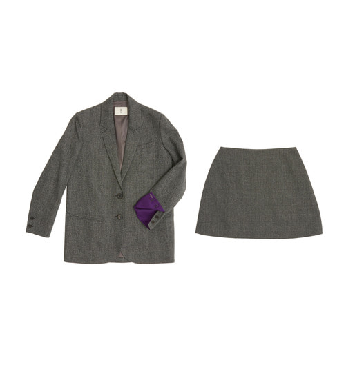 [AND YOU]  PARIS two button over-sized Blazer & Skirt set (Gray glen check)