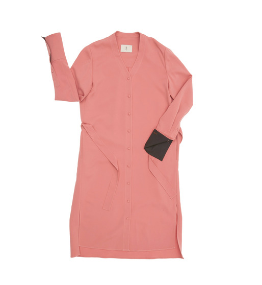 [앤유] OSLO long sleeve shirt dress ( Peach pink & Charcole gray )
