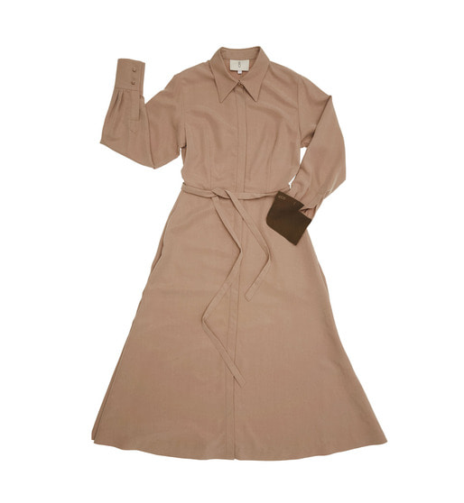 [앤유] NEW YORK long sleeve flared shirt dress (Beige & Dark chocolate)