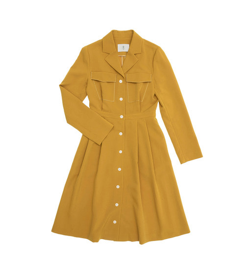 [앤유] MONACO notched collar shirt dress (Mandarin orange)