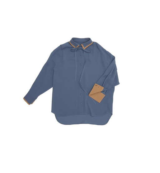 [AND YOU] VERONA oversized blouse (Royal blue & Camel)
