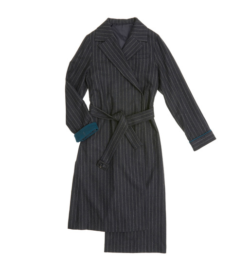 [AND YOU] TOKYO notched collar asymmetric coat (Dark gray pin stripe & Teal green)