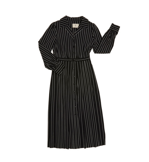 [앤유] MILANO notched collar shirt dress (Black pin stripe)