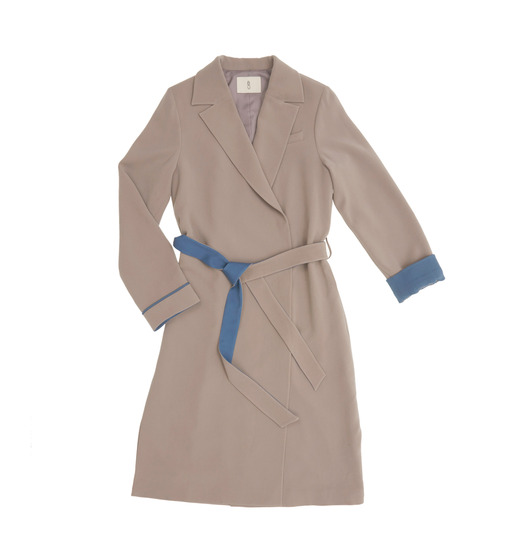 [AND YOU] TOKYO wrap style trench coat ( Warm gray & Light royal blue )