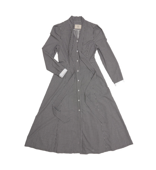 [앤유] GENOVA A-line flared dress with tie ( Black gingham check & white )