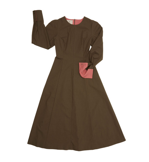 [앤유] POSITANO puffed long sleeve dress (Khaki & Peach pink)