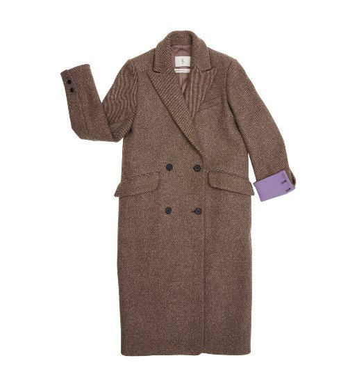 [앤유] DUBLIN double breasted coat (Mild brown check & Lilac)