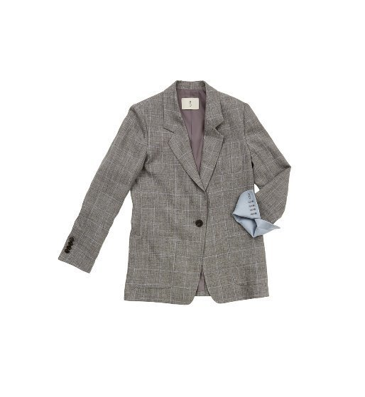 [앤유]GRAMACY out pocket detail blazer  (Gray window check & Light blue)
