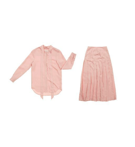 [앤유] NAPOLI long sleeve tie blouse & VENICE pleated long skirt (Baby pink) SET