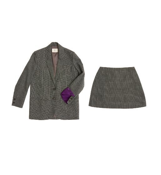 [앤유]PARIS two button over-sized Blazer & Skirt set (Gray glen check)