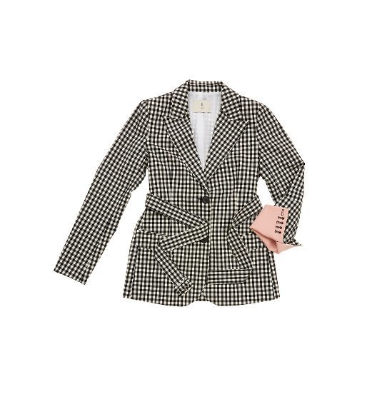 [앤유]STOCKHOLM two button blazer (Black gingham check&Baby pink)