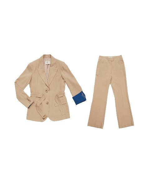 [앤유]STOCKHOLM two button blazer (Royal beige & Cobalt blue) & SOHO high waisted flared trousers (Royal beige) SET