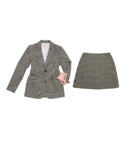 [앤유]STOCKHOLM two button blazer (Black gingham check&Baby pink) & PARIS short skirt (Black gingham check) SET
