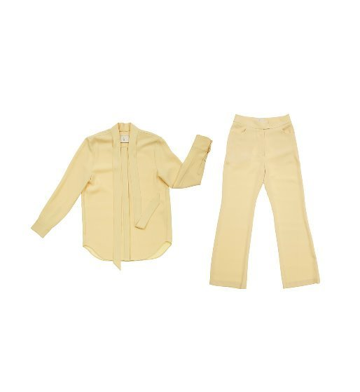 [앤유][박민영 착용]]NAPOLI long sleeve tie blouse (Custard) & SOHO high waisted flared trousers (Custard) SET