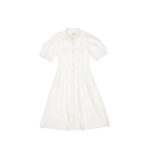 [앤유][김나영 착용]NOHO puffed shoulder shirt dress  (White)