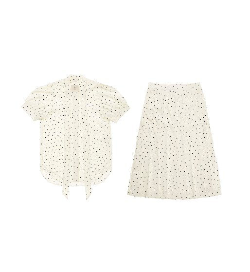 [앤유][윤승아 착용] NAPOLI short sleeve tie blouse & VENICE pleated skirt (White polka dot)