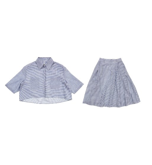 [앤유]WILLIAMSBURG short sleeve crop shirt & OSAKA flared skirt (Blue Stripe)