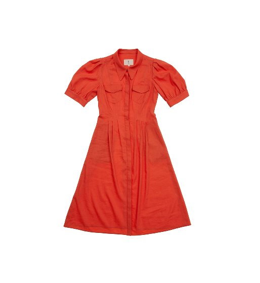 [앤유][이연희 착용] NOHO puffed shoulder shirt dress  (Tomato)