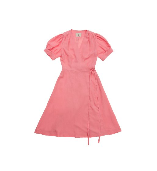 [앤유]PARK SLOPE  short sleeve wrap dress (Coral pink)