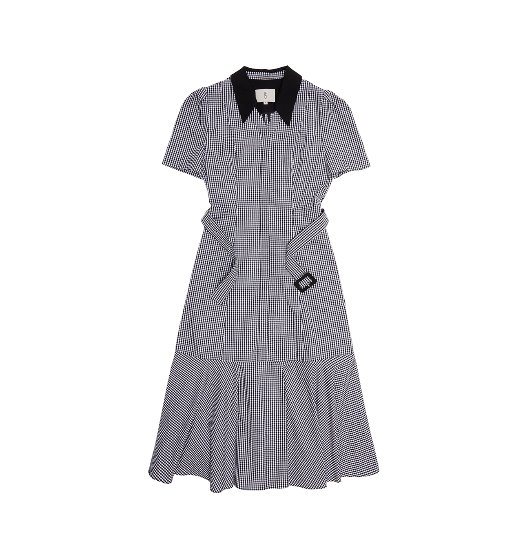 [앤유] LITTLE ITALY trumpet dress (Blackgingham check&Black)