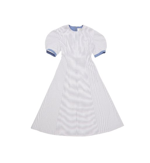 [앤유][강승현 착용]POSITANO Short Sleeve Maxi Dress (Royal blue houndtooth check)