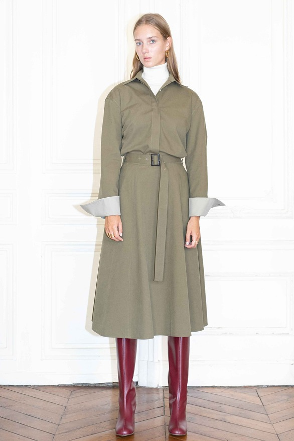 [앤유][시즌 세일]CHAMPS ELYSEES flared belted skirt (Khaki)