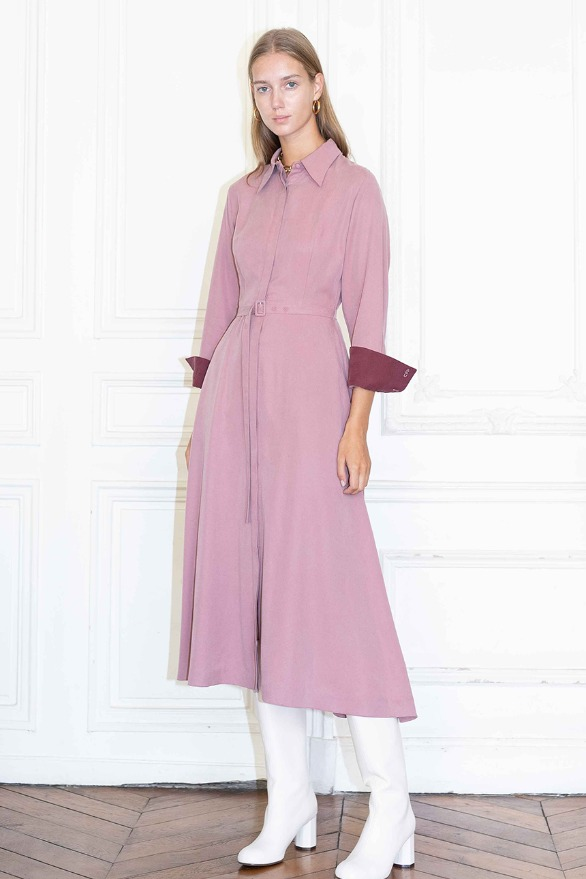 [앤유][시즌 세일]NEW YORK classic flared shirt dress (Indie pink & Burgundy)