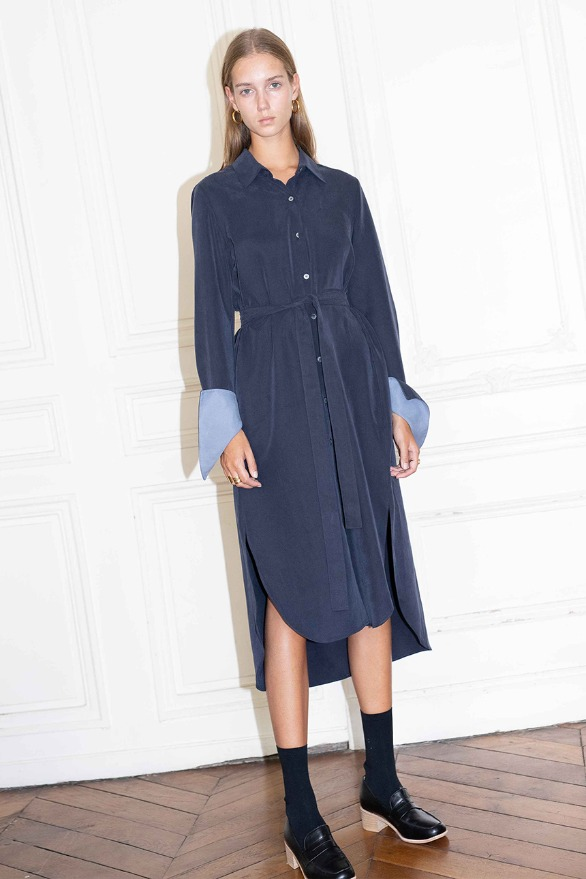 [앤유][시즌 세일]COPENHAGEN long sleeve shirt dress (Navy & sky blue)
