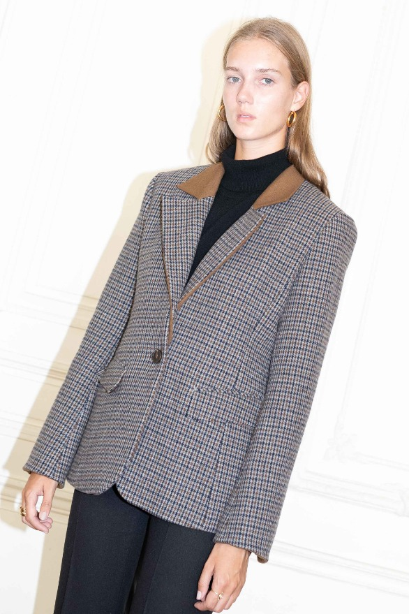 [앤유][시즌 세일]VOLTAIRE detachable collar blazer Brown gingham check
