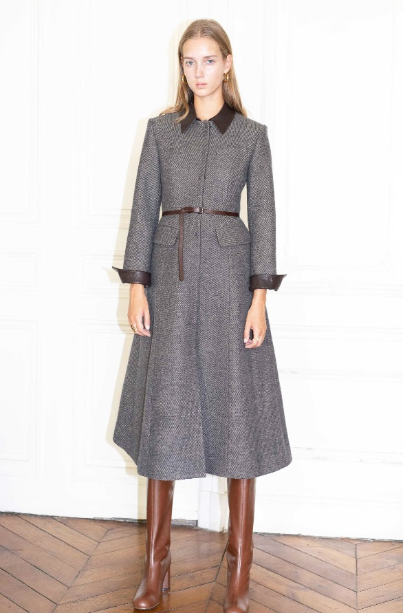 [앤유][시즌 세일][권나라, 손예진 착용]PANTHEON detachale collar A line coat Dark chocolate twill