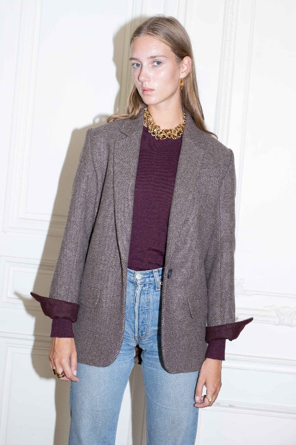 [앤유] PARIS oversized blazer Choco twill check,burgundy