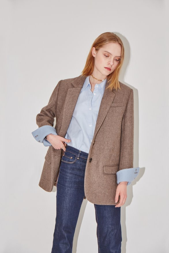 [앤유][시즌 세일][장윤주 착용]PARIS two button blazer (Sand brown & Baby blue)