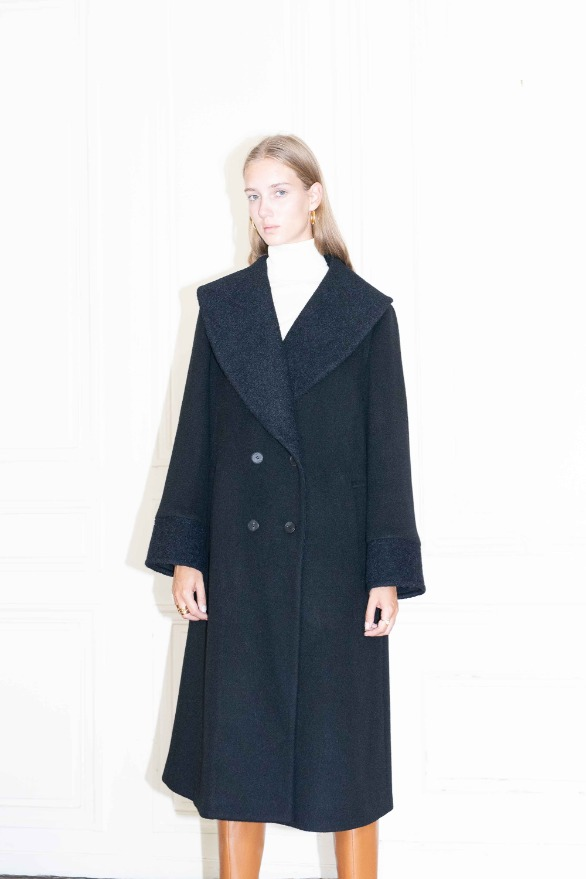 [앤유]NOTRE DAME shawl collar oversized coat Black