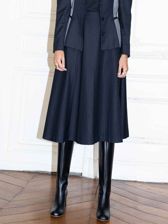 [앤유][시즌 세일]CHAMPS ELYSEES flared belted skirt (Navy pin stripe)
