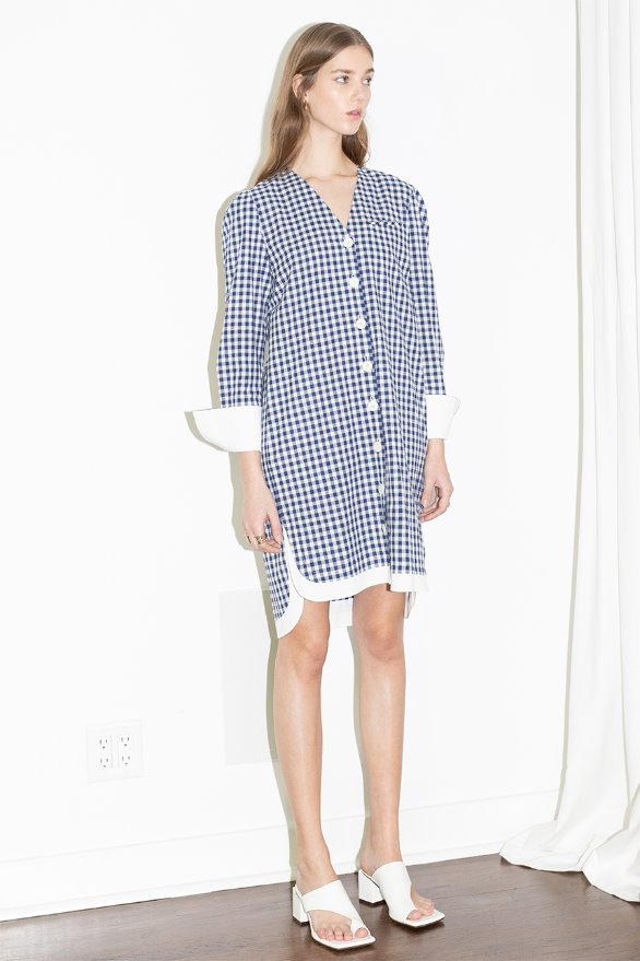 [앤유]ECHO PARK v neck button down shirt dress (Blue gingham check & White)