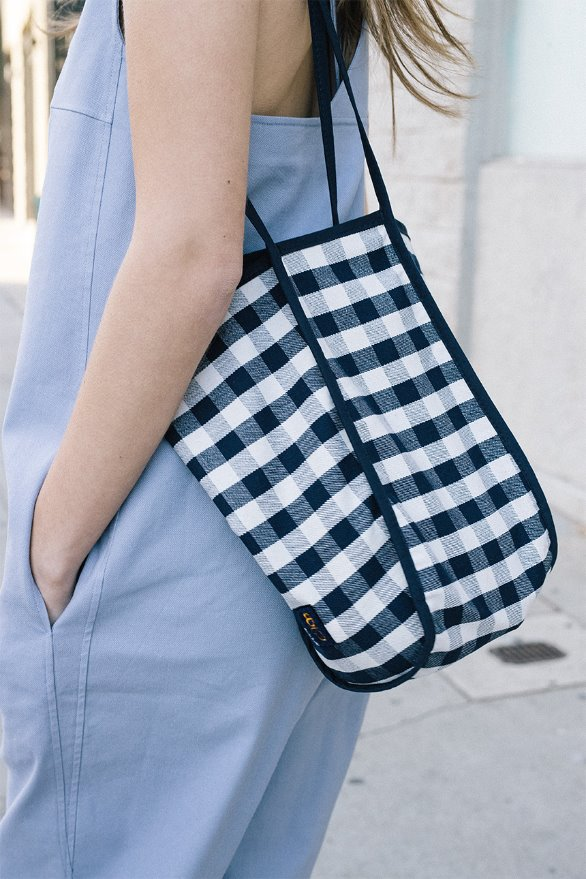 [앤유][김나영 노필터 TV][Navy 6/3 예약발송]ITAEWON Bag (Navy Gingham/Brown Gingham)