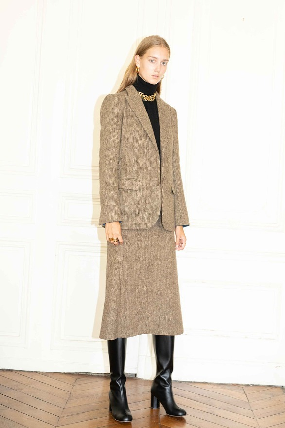 STOCKHOLM wool blazer & MARAIS skirt Brown herringbone